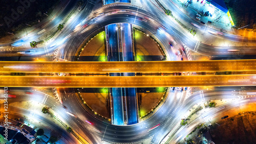 Leinwanddruck Bild Aerial view and top view of traffic on city streets in bangkok , thailand. Expressway with car lots.