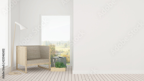 The interior minimal living space in hotel and decoration background - 3D Rendering - 235463612
