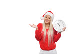 Late new year and christmas shopping girl with big wall clock in santa claus hat on isolatad white background - 235465659