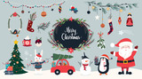 Christmas collection of seasonal elements with Santa and snowman, hand drawn items, vector design - 235469013