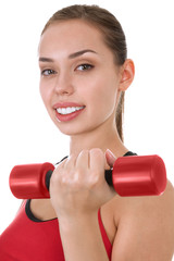 Portrait of young woman with dumbbells © srady