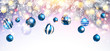 Christmas Decorations with Blue Balls and Fir Branches. Vector - 235485892