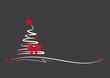 weißer tannenbaum mit roten sternen, schleife und schwarzem hintergrund