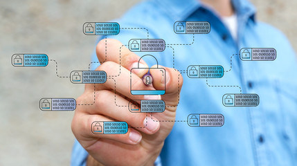 Businessman drawing thin line web security interface