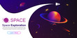 Vector space background with planets and stars. Space exploration. Gradient Fluid Design. - 235498615
