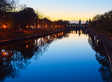After sunset, the River Ouse from Lendal Bridge, York, England, UK. - 235506854