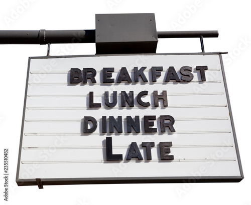 fototapeta na ścianę Vintage black and white BREAKFAST LUNCH DINNER sign. Isolated.