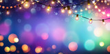 Party - Colorful Bokeh And Retro String Lights In Festive Background  - 235516060