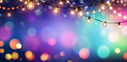 Party - Colorful Bokeh And Retro String Lights In Festive Background
