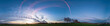 Leinwanddruck Bild - Panorama of sunrise in morning field and forest