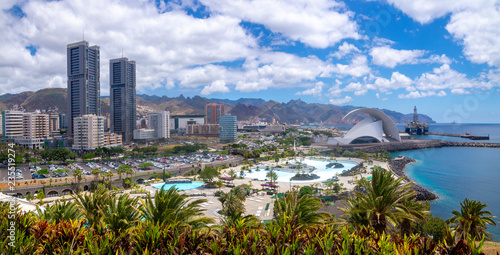 Leinwanddruck Bild Panorama of the capital of Tenerife, Santa Cruz