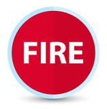 Fire flat prime red round button