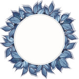 Watercolor round frame with dark blue leaves. Hand drawn illustration on white background. - 235540021