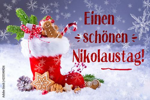 Leinwandbild Motiv Grußkarte zum Nikolaus