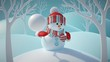 3d render, cute funny snowman wearing red hat and scarf, throwing snowball, standing in snowy forest, winter Christmas background, New Year greeting card, festive character