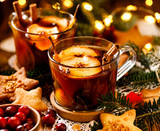Compote from dried fruits and aromatic spices, a traditional drink during Christmas dinner.  Traditional Polish Christmas