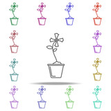 iris in pot outline icon. Elements of Flower in multi color style icons. Simple icon for websites, web design, mobile app, info graphics