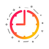 Clock time sign icon. Watch or timer symbol. Colorful geometric shapes. Gradient clock icon design.  Vector