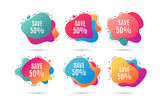 Save 50% off. Sale Discount offer price sign. Special offer symbol. Abstract dynamic shapes with icons. Gradient banners. Liquid  abstract shapes. Vector - 235578882