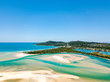 Leinwanddruck Bild - Noosa river aerial view with vibrant blue water on the Sunshine Coast in Queensland, Australia