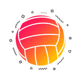 Volleyball sign icon. Beach sport symbol. Colorful geometric shapes. Gradient volleyball icon design.  Vector