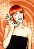 Portrait of young woman in comic pop art make-up style. Female in red wig on orange cartoon background calls by phone