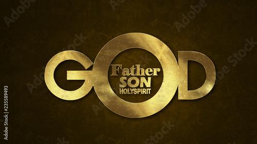 Leinwandbild Motiv The word GOD concept written in gold texture on wooden background.