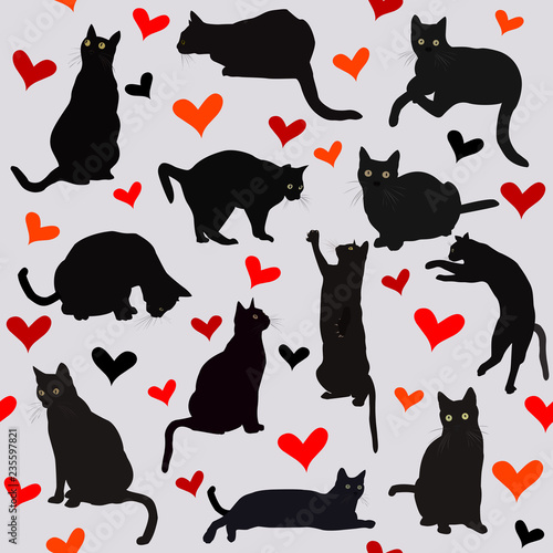 fototapeta na ścianę Seamless background with hearts and black cats