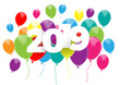 Vector 2019  poster with text and balloons - 235600800