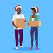 african american couple woman man santa red hat holding paper parcel box delivery concept happy postman male female cartoon character full length flat vector illustration - 235605239