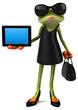 Leinwanddruck Bild - Fun frog - 3D Illustration