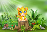 Cartoon a baby leopard sitting on tree stump with green plants © dreamblack46