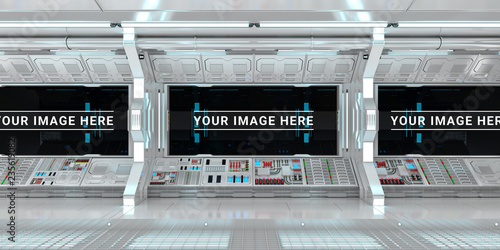 Leinwandbild Motiv White spaceship interior with large window view 3D rendering
