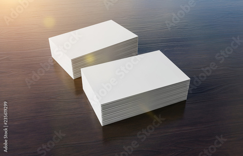Leinwandbild Motiv White business card pile on wood mockup 3d rendering
