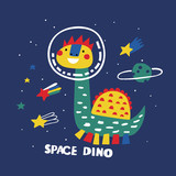 Fototapeta Dinusie - Space dino cartoon vector. Illustration vector for print t-shirt design. Fun dinosaur. © bukhavets