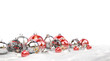 Leinwanddruck Bild - Red and silver christmas baubles isolated 3D rendering