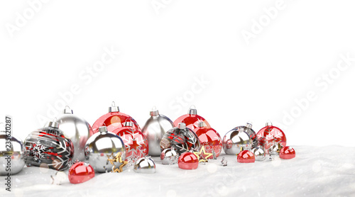 Leinwanddruck Bild Red and silver christmas baubles isolated 3D rendering