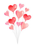 Watercolor vector card with flying balloons in the form of hearts. - 235622480