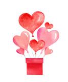 Happy Valentines day watercolor vector illustration. - 235622626