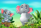 Cartoon happy mother and baby elephant in the park © dreamblack46