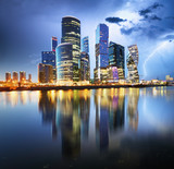 Moscow Internation business centre at night with storm and lightning bolt, Russia - 235632474