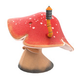 fantasy cartoon big mushroom with a pipe on an isolated white background, 3d illustration