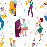 Seamless pattern with characters playing musical instruments. Editable vector illustration