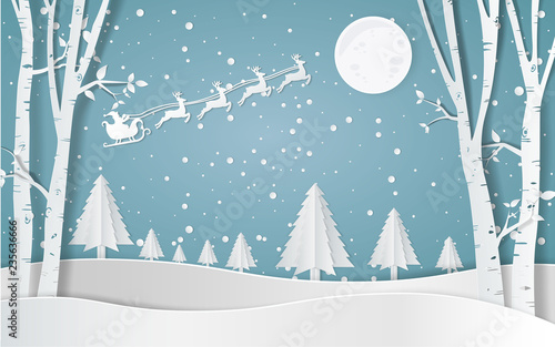 Merry christmas,Santa Claus Driving in a Sledge,Snow forest. pines in winter and mountain Paper vector Illustration - 235636666