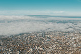 large aerial view of city of Dornbirn in Austria in the morning fog - 235643062
