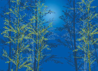 bamboo plants on blue background © Alexander Potapov