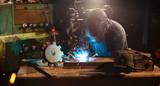 Welder working in workshop factory - 235657436