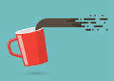 Red cup. Concept of coffee time. Vector Illustration
