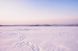 Winter landscape with trails in the snow. A path through the lake. Winter expanses during the twilight. Lake Turgoyak. South Ural. Russia.