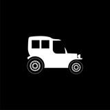 Old motor vehicle icon or logo on dark background - 235659617
